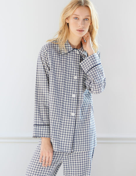 Kate Pajama Top Sea Gingham Organic Cotton