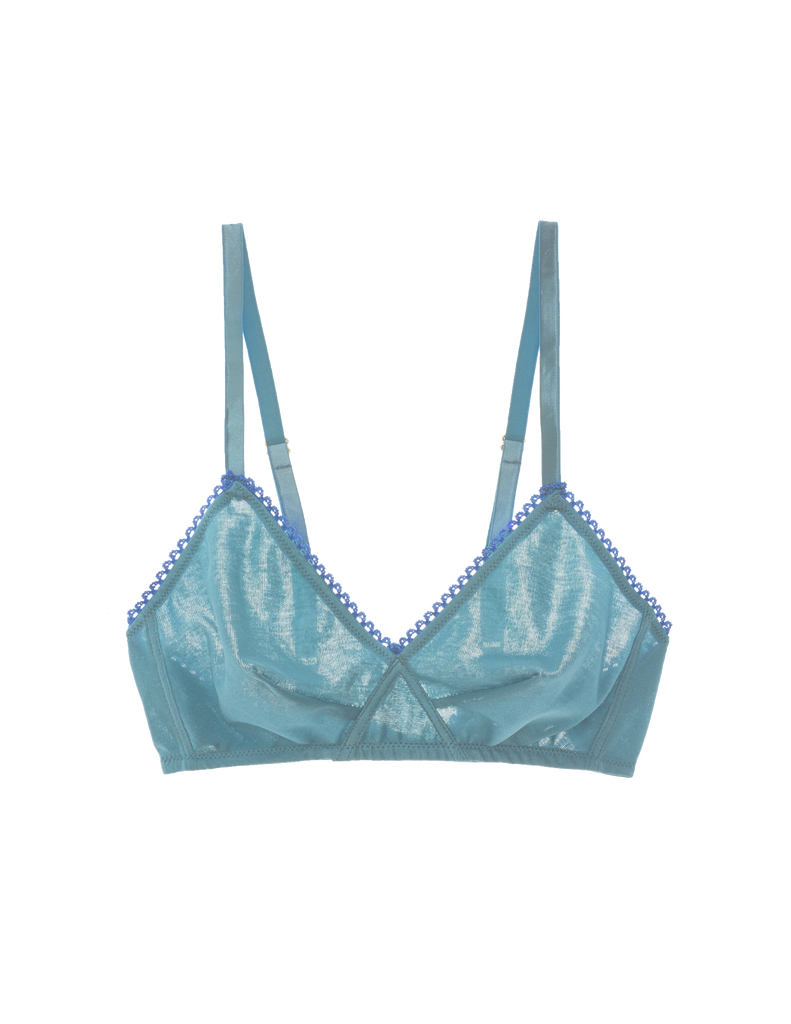 blue cotton wireless bralette with blue trim