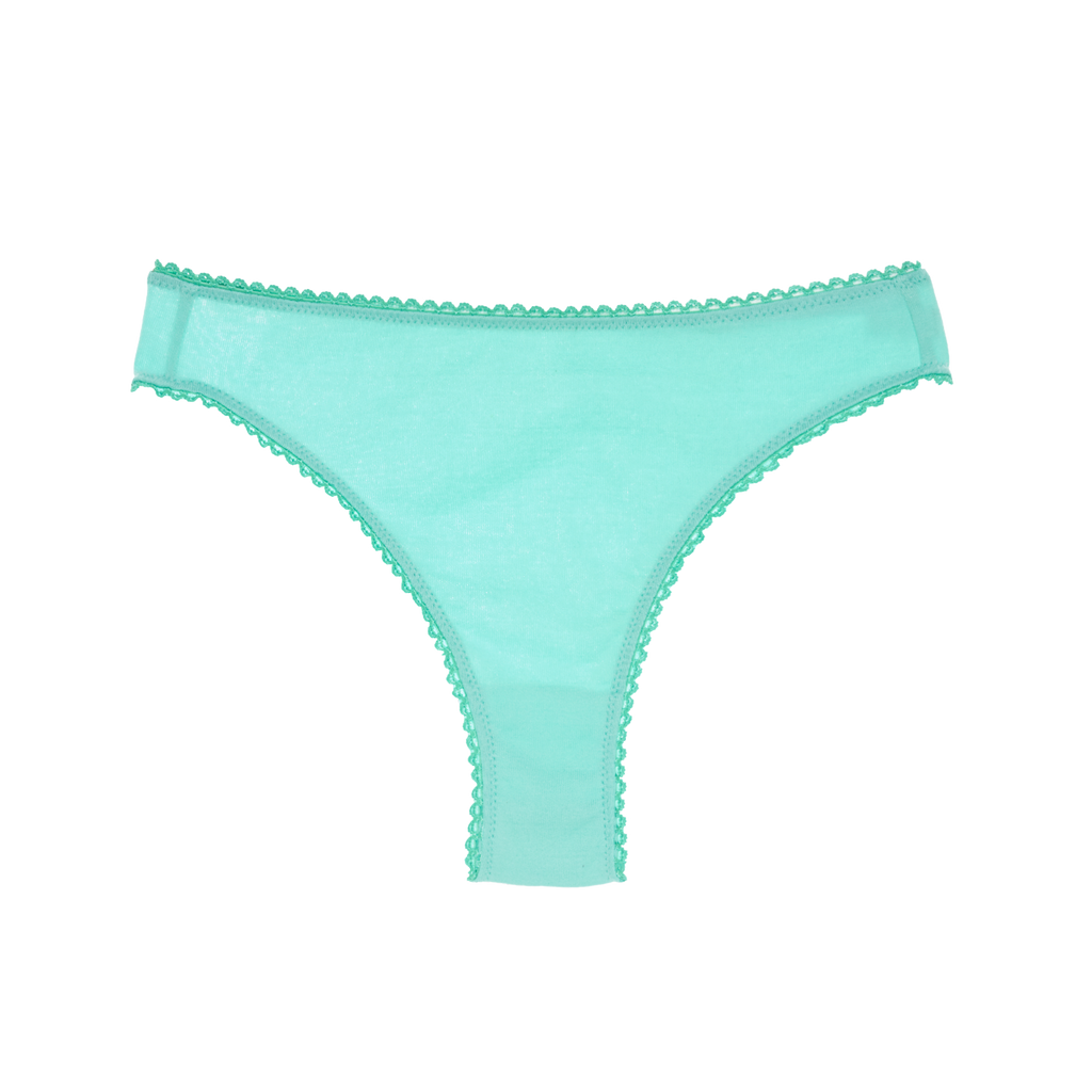 blue cotton thong with blue trim.