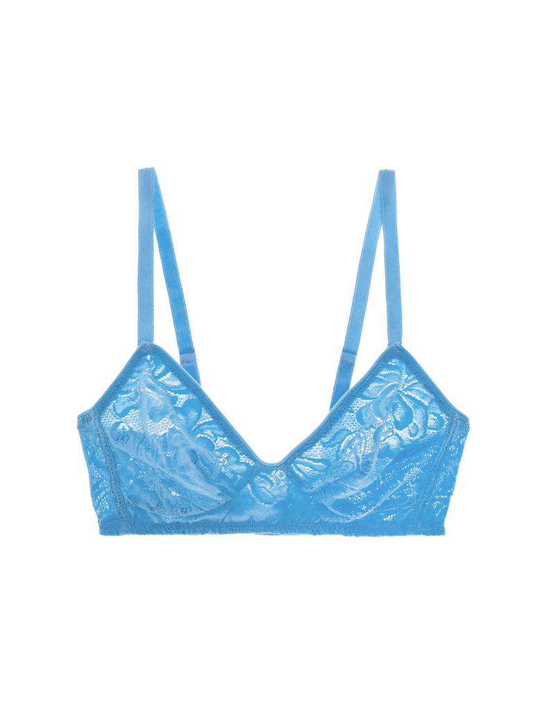 blue lace wireless bra