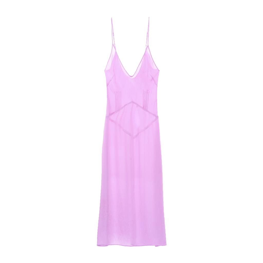 Purple, knee-length slip