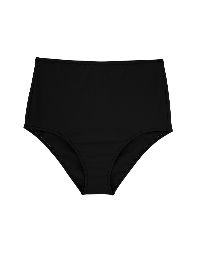 Black high-waisted bikini bottom.