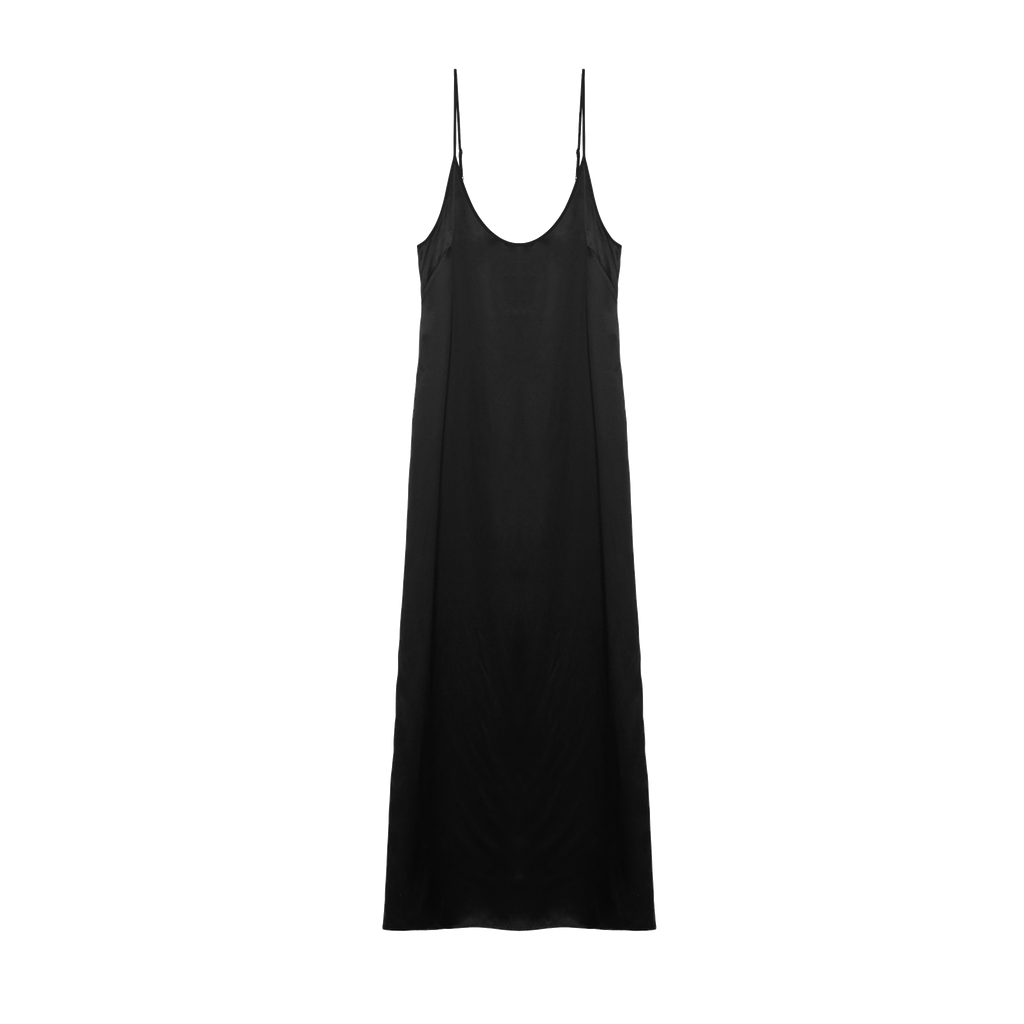 Black silk charmeuse ankle-length slip with side slit.