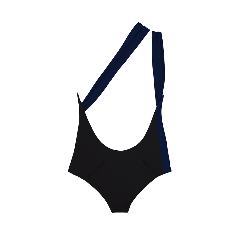 Back view of black and navy one piece swimsuit with double one shoulder strap