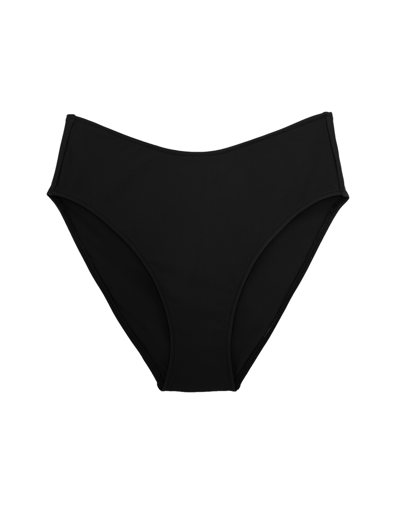 Black high-waisted bikini bottom with high cut legs