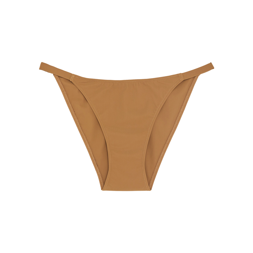 Light brown mid-rise bikini bottom with elastic band sides