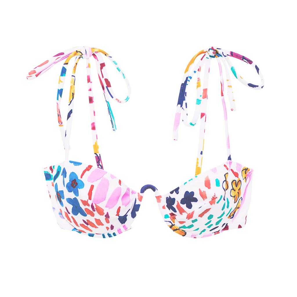 White floral bikini top with shoulder ties