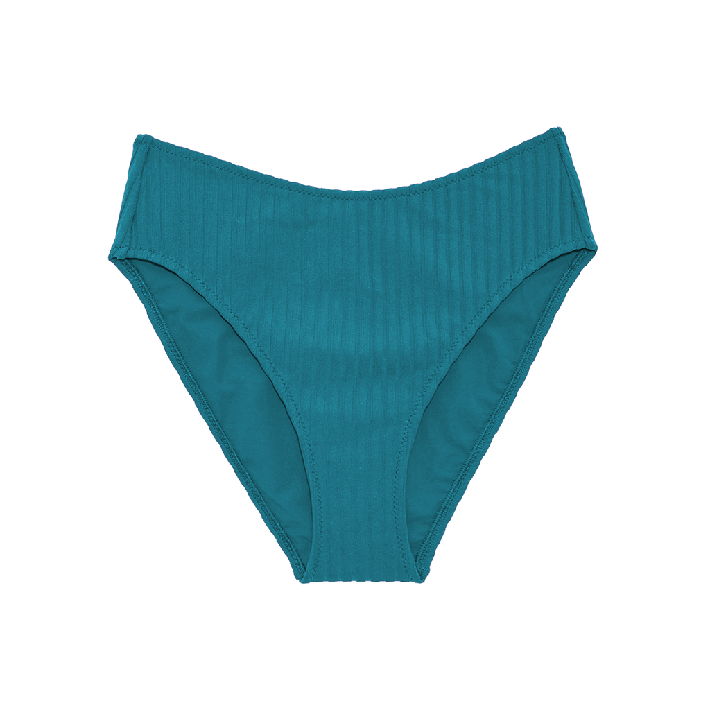 Blue high-waisted bikini bottom with high cut legs