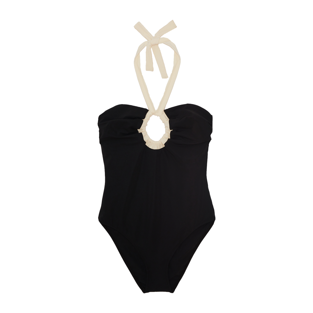 Black one piece with adjustable ruching and white adjustable tie in back