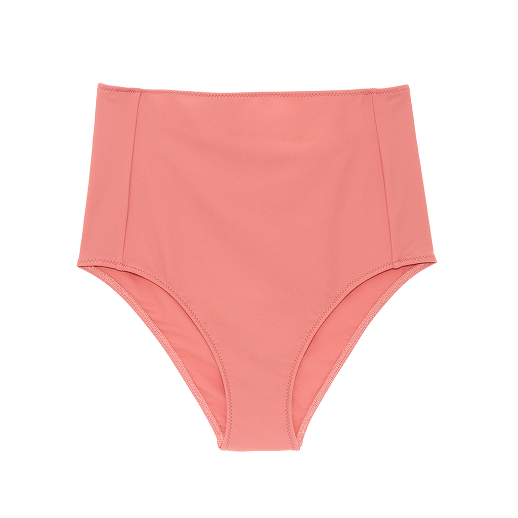 Pink high-waisted bikini bottom