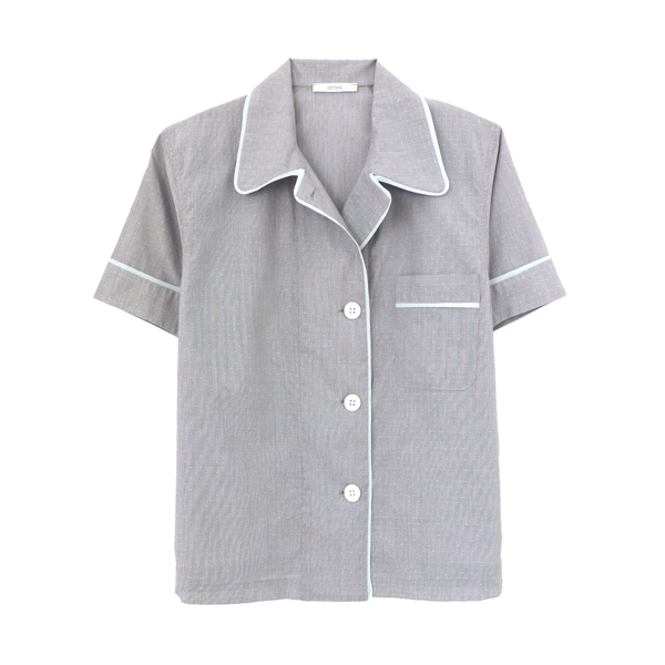 Grey silk collared short-sleeved sleep shirt with left breast pocket and contrast piping