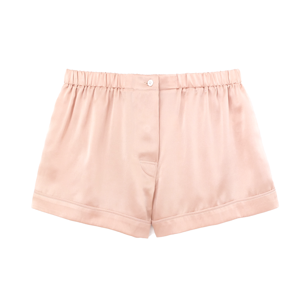 Nude silk boxer shorts with contrast piping
