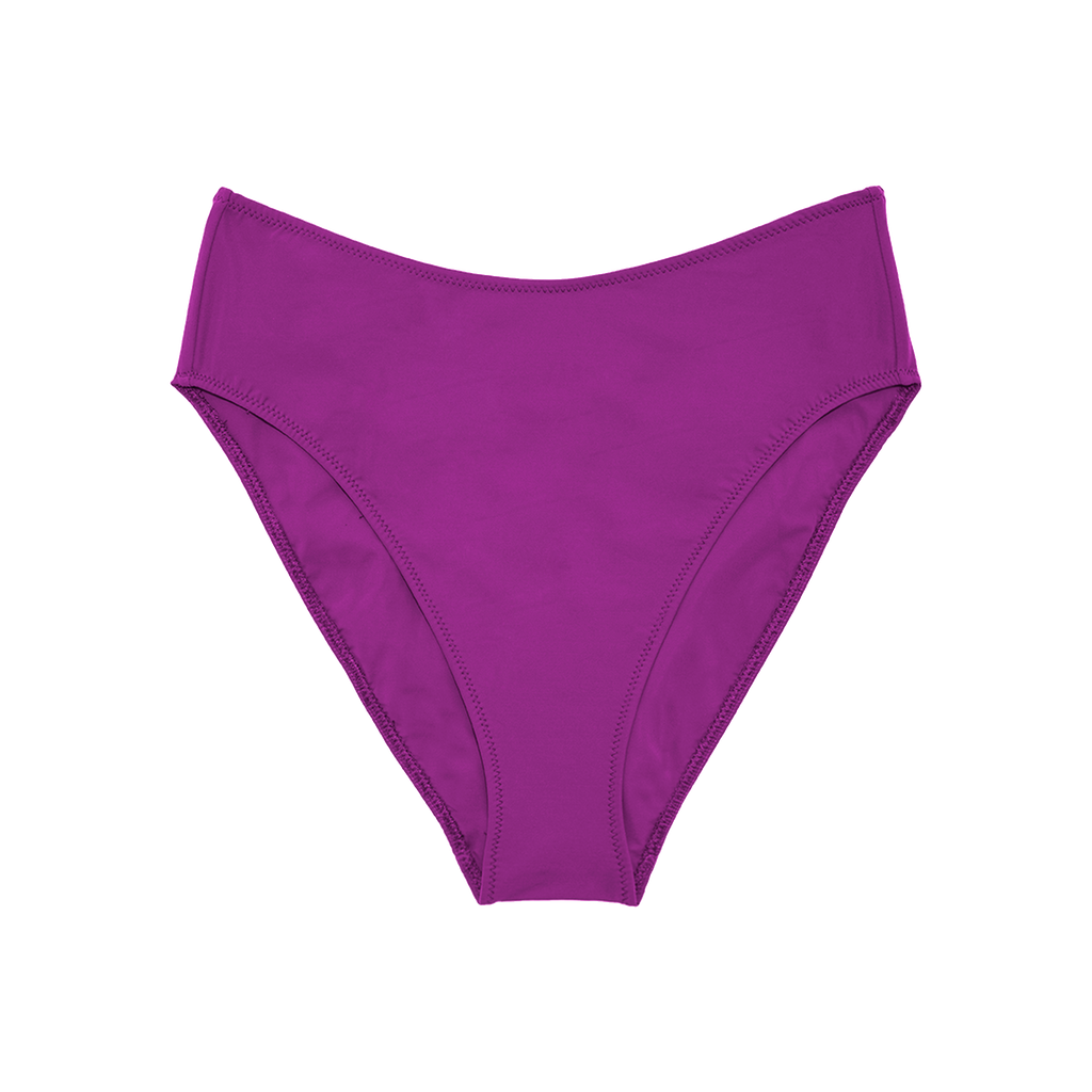 Purple high-waisted bikini bottom with high cut legs
