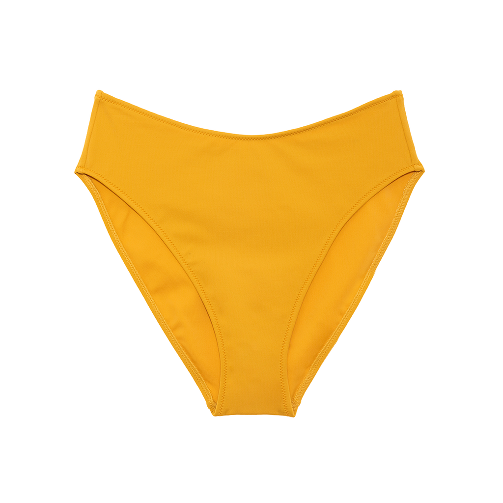 Yellow high-waisted bikini bottom with high cut legs
