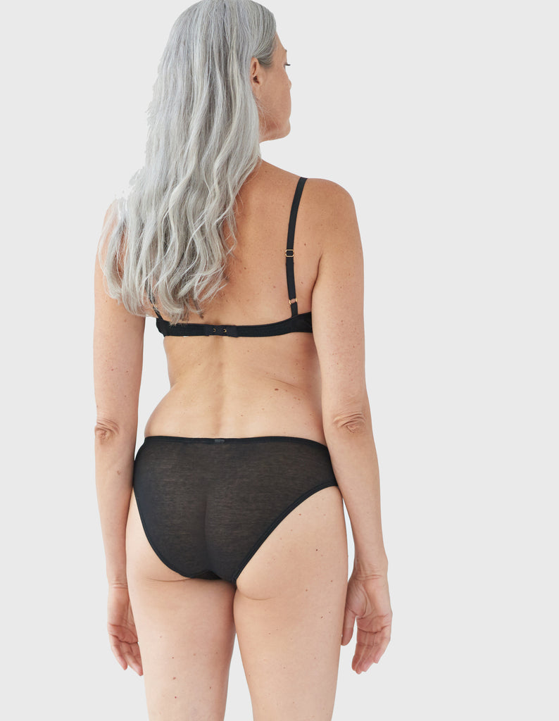 Back view of model wearing black bralette and matching panty.