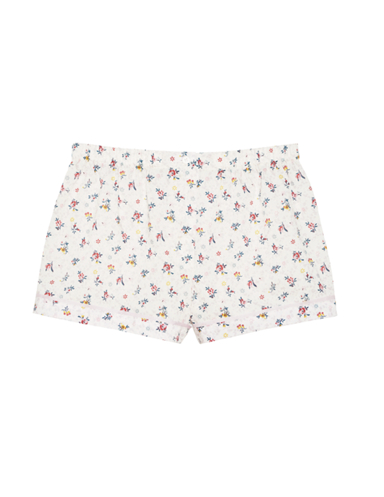 white cotton pajama shorts with floral print