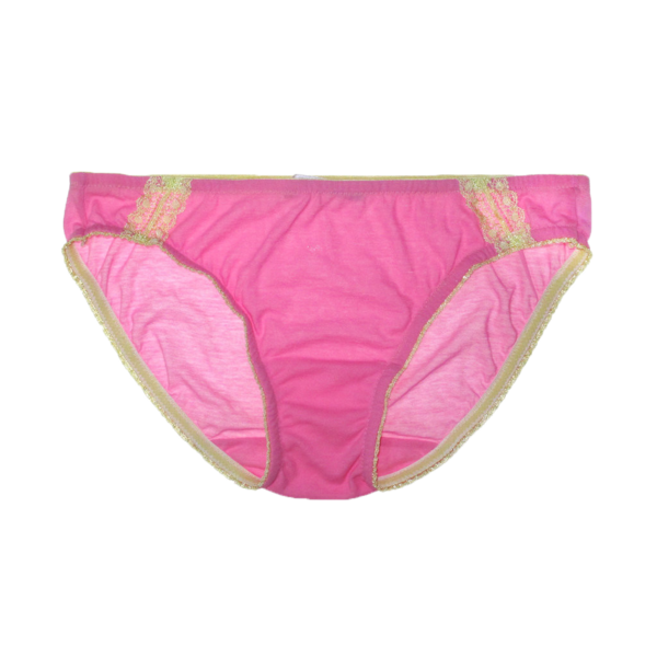 Light pink cotton crepe panty with inset green lace detail and trim.