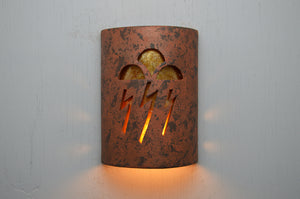 10'' ADA Low Profile-Open Top-Storm Clouds-Copper Bricks-Amber Mica-Indoor-Outdoor