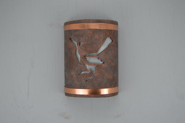 10'' ADA Low Profile, Closed Top - Road Runner, Brushed w/Copper Bands - Antique Copper - Indoor/Outdoor