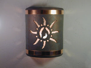 "9"" Open Top - Ancient Sun Design w/Copper Metal Bands in Copper Patina color - Indoor/Outdoor"