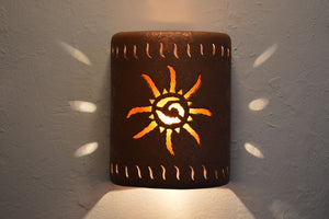 "9"" Open Top - Ancient Sun Design w/Wind Border Design and Amber Mica Lens, in Rust Mica color - Indoor/Outdoor"