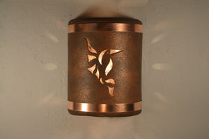 "9"" Open Top - Hummingbird Design w/Silver Mica Lens & Copper Bands in Antique Copper color - Indoor/Outdoor"