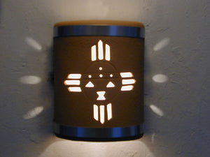 "9"" Open Top - Kachina Design and Stainless Steel Metal Bands in Terracotta color - Indoor/Outdoor"
