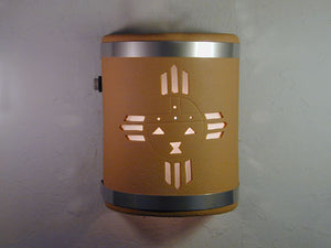 "9"" Open Top - Kachina Design w/Stainless Steel Metal Bands, in Brown color & Dusk Till Dawn Sensor - Indoor/Outdoor"