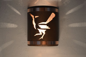 9″ Open Top - Roadrunner Design w/Silver Mica Lens & Copper Bands in Antique Copper color - Indoor/Outdoor