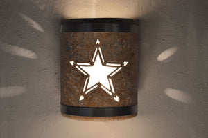 Texas Star-stainless steel bands-Copper Road-indoor-outdoor-lit