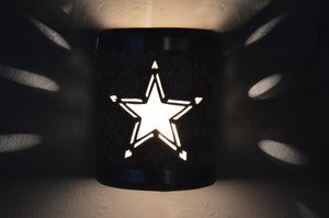 "9"" Open Top - Texas Star design, Silver Road color w/Stainless Steel bands - Indoor/Outdoor-"