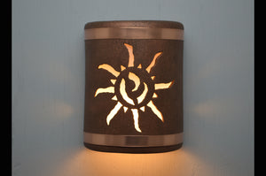 9'' Ancient Sun-B&Sealed Copper Bands-Antique Copper-indoor-outdoor-114 222 665 851 90-lit