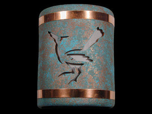 "9"" Open Top - Roadrunner Design w/Copper Metal Bands, in Raw Turquoise color - Indoor/Outdoor"