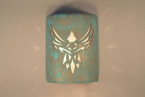 "9"" Closed Top (Dark Sky) - Phoenix Design in Raw Turquoise color - Indoor/Outdoor"