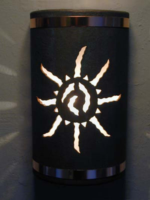 "14"" Open Top - Ancient Sun Design w/Copper Metal Bands, in Copper Patina color - Indoor/Outdoor"