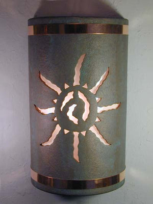 "18"" Open Top - Ancient Sun Design w/Copper Metal Bands, in Copper Patina color - Indoor/Outdoor"