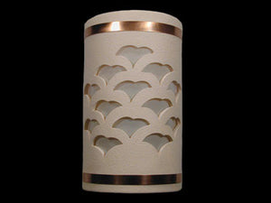 Open Top-Gingko Design and Copper Metal Bands-Cream color-Indoor/Outdoor