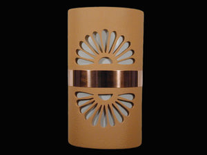 "14"" Open Top - Double Fan Design w/Copper Metal Band, in Brown color - Indoor/Outdoor"