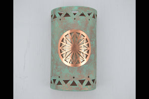 14'' Dreamcatcher Copper Cover-Tribal Drum border-Silver Mica lens-Raw Turquoise-indoor-outdoor-custom, handcrafted,116 CV7 O18 848 692 90SM