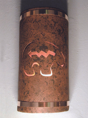 "14"" Open Top - Spirit Bear Design w/Amber Mica Lens and Copper Metal Bands, in Copper Brick color - Outdoor/Indoor"