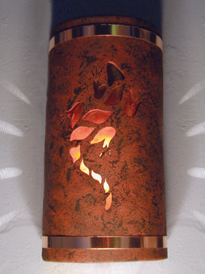 "14"" Open Top - Lizard Design w/Amber Mica Lens and Copper Metal Bands in Copper Brick color-Indoor/Outdoor-Open Top"