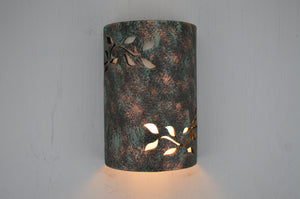"Ivy Design in a 12"" tall USA Made Dark Sky Light in Moss Agate-Indoor-Outdoor"