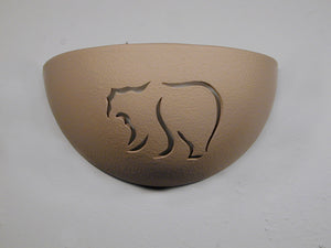 Small Bowl Shaped Wall Sconce - Mountain Bear design, Taupe color - Indoor/Outdoor
