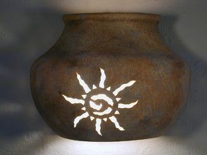 "8"" Open Top Native Pot Shaped Wall Sconce - Ancient Sun Design, in Sandstone color - Indoor/Outdoor"