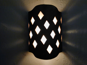 Harlequin design in Antique Bronze-Indoor/Outdoor-Arches Handcut Modern wall sconce