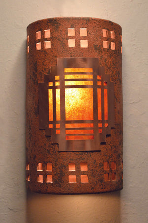 Mission copper cover-Windows border-copper brick/antique copper-indoor-outdoor-129 CV8 O18 838 694 90AM lit-Southwestern Lighting Santa Fe