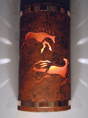 Wild Horse w/Amber Mica Lens-Copper Bands-Copper Brick color-Indoor/Outdoor