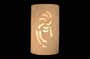 14'' Ceramic Wall Sconce Light Closed Top Kokopelli Sandstone Outdoor