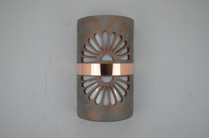 14'' Closed Top (Dark Sky) - Double Fan Design w/Center Copper Band, in Copper Patina Color - Indoor/Outdoor