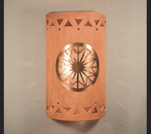 "14"" Open Top - Dreamcatcher Copper Cover w/Tribal Drum Design and Silver Mica Lens, in Clay Wash color - Indoor/Outdoor"